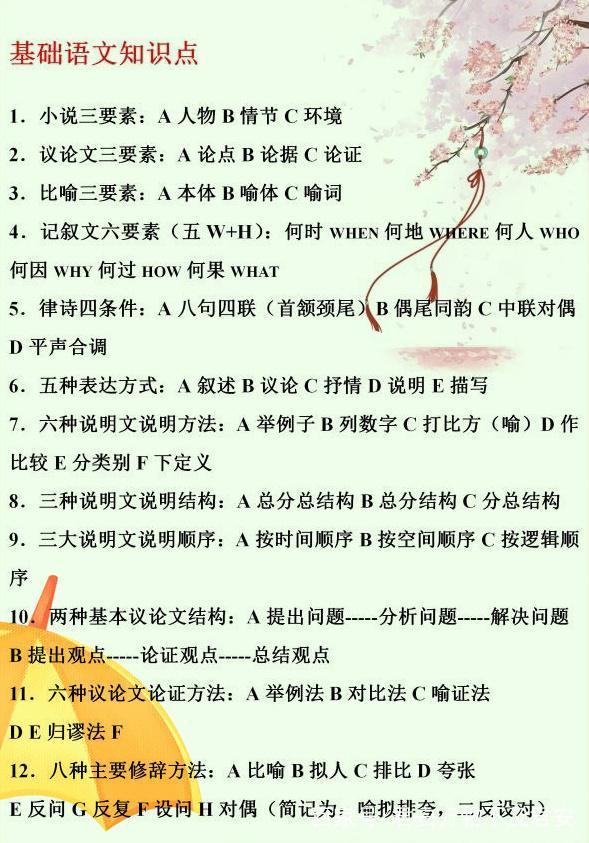 亮牛哥:分享初中语文基础知识大全汇总